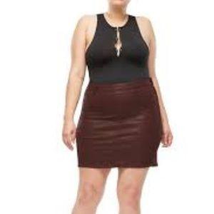 Good American Waxed Mini Denim Skirt